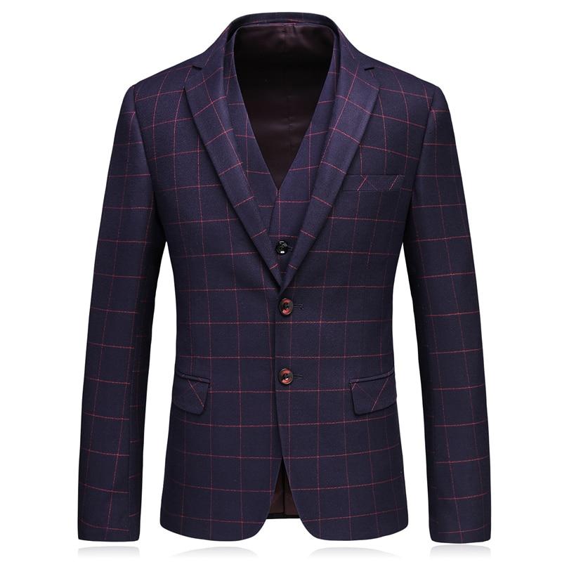 534e40e84 € 86.63 30% de DESCUENTO Plyesxale Slim Fit boda trajes para hombres azul  marino púrpura rojo Plaid Suit hombres 2018 última moda chaqueta Formal ...