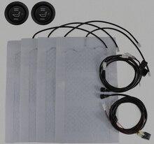 Calentador de asiento universal de fibra de carbono, estera de 12V de alto y bajo Interruptor redondo, funda de asiento cálida para invierno, 2 asientos, 4 alfombrillas
