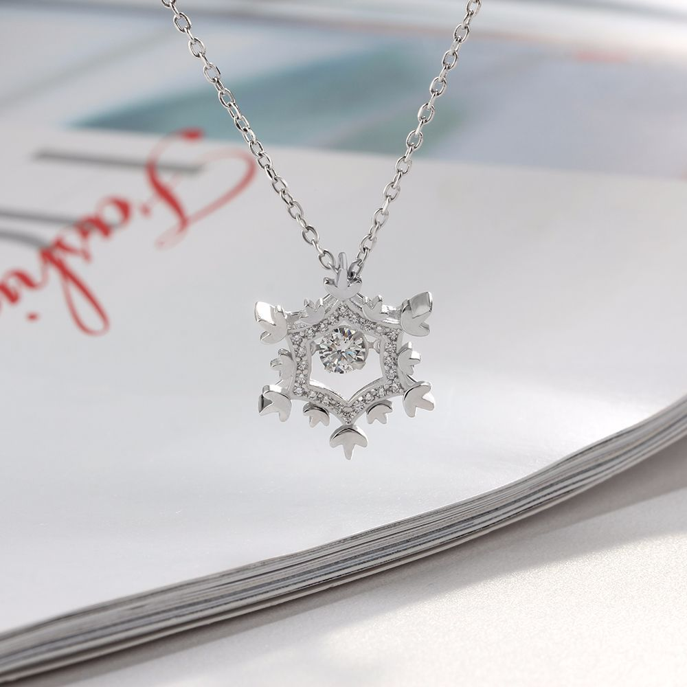 цена GUP10 women fashion fine jewelry, trendy shiny snow pendant,925 silver necklace for beloved lady
