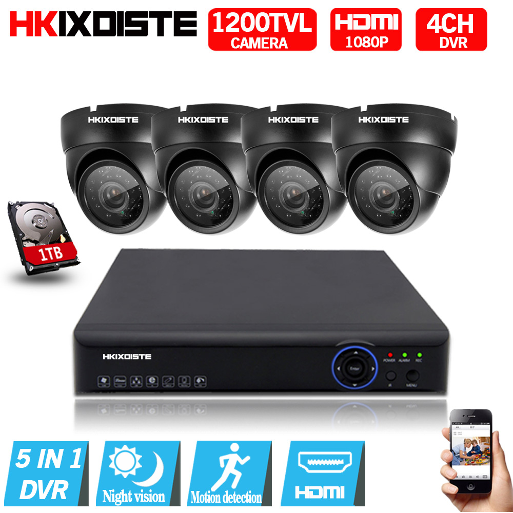 4CH 1080N HDMI DVR 1200TVL 720P HD indoor Security Camera System 4 Channel CCTV Surveill ...