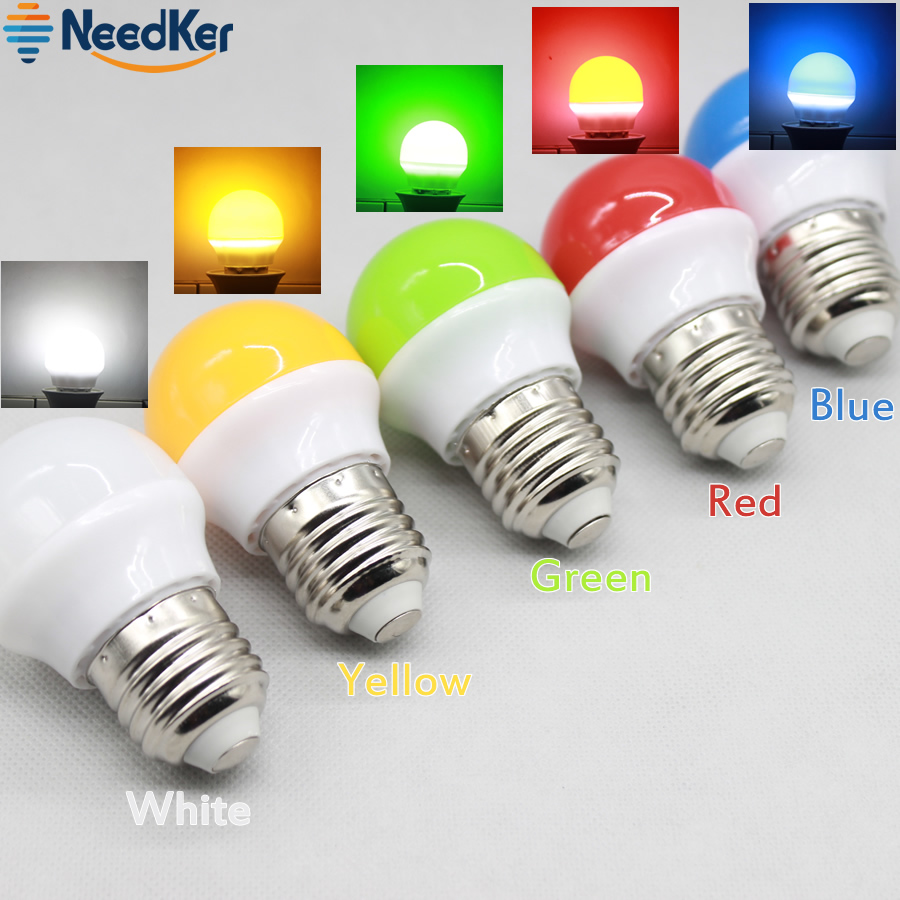 NeedKer E27 LED Bulbs 3W SMD2835 Colorfull LED Lighting White/Yellow/Red/Green/Blue Decorative Lamp AC 110V 220V 240V for Party