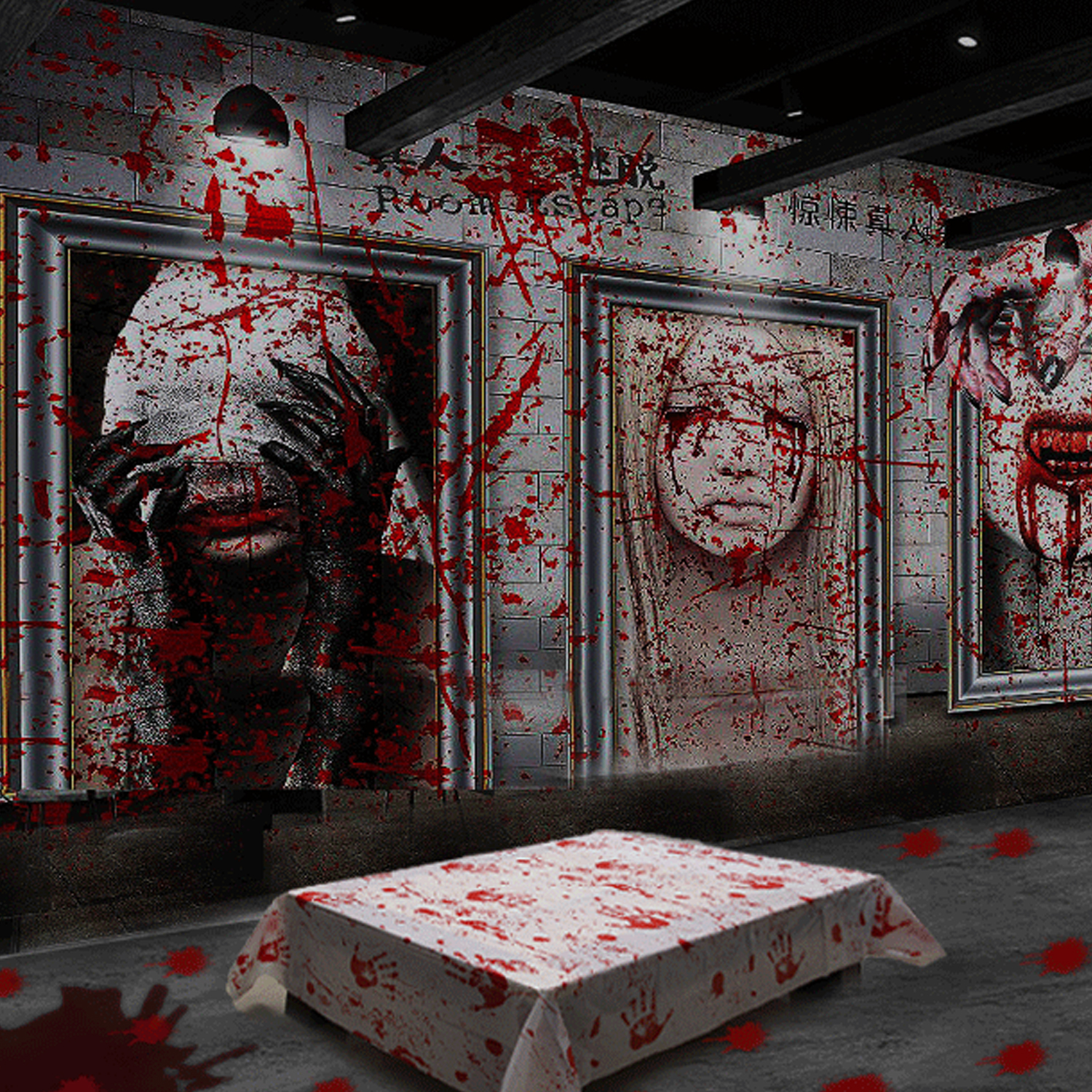 Behogar Realistic Scary Bloody Table Cover For Halloween