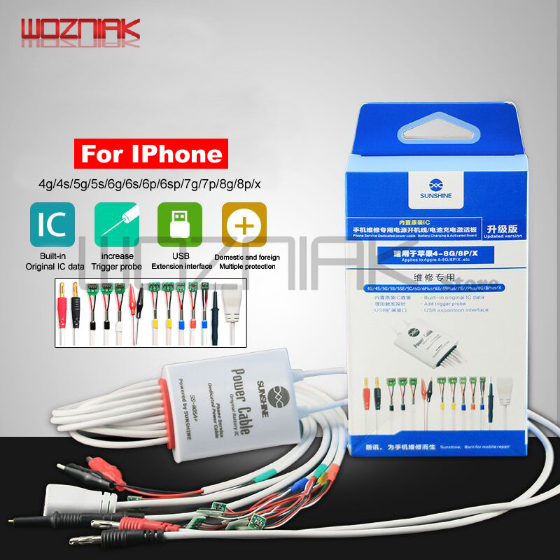 Wozniak SS-905A Battery Power Supply Boot Activation Test Line For Iphone 4/4s/5/5s/6/6s/6p/6sp/7/7p/8/8p/x Maintenance Cable
