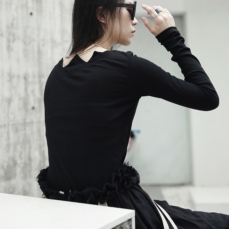 [EAM] 2021New Spring Autumn  Black Long Sleeve Asymmetrical Collar Wild Slim Bottoming Shirt Women Fashion Tide Tops LA922