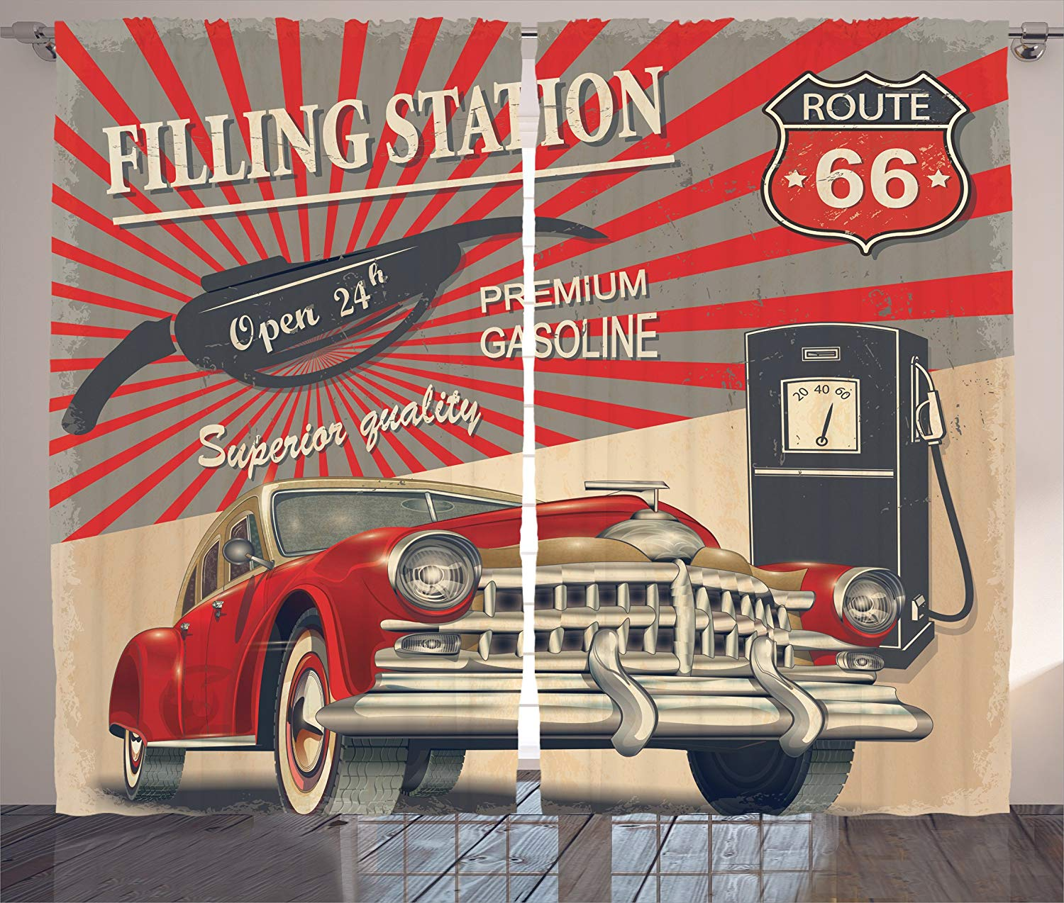 Cars Route 66 Retro Poster Curtains Gasoline Station Commercial Kitschy Element Route 66 Print Living Room Bedroom Window Decor