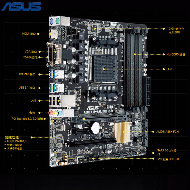 Asus A88XM-A/USB3.1 Desktops Game Motherboard FM2+ Support 7650K asus a88xm plus page 4
