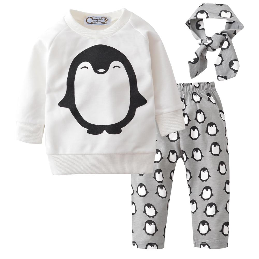 2018 újszülött lányok ruhák tavaszi pingvin 3db gyerek gyerekek fiú ruházat szettek póló + nadrág + fejpánt csecsemő bébiruhák