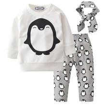 2018 Newborn Baby Girls Clothes Spring Penguin 3pcs Kids Children Boy Clothing Sets T Shirt Pants