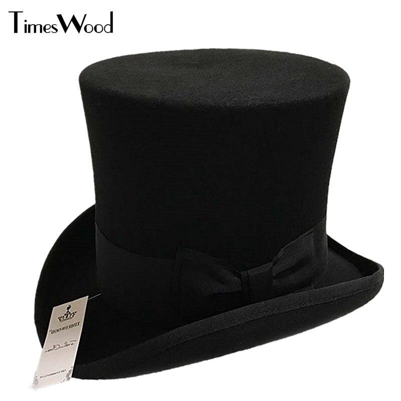 18 cm Noir Rouge Gris Haute Laine Haute Top Hat Pour Hommes Et Hommes Chapeau Fedora Magicien Feutre Vintage Partie église Chapeaux S M L XL