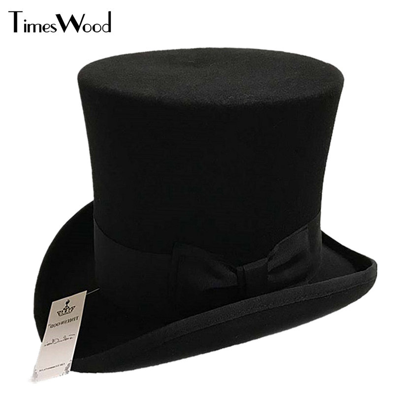18cm Black Red Gray High Wool High Top Hat For Men And Men Chapeau Fedora Magician Felt Vintage Party <font><b>Church</b></font> Hats S M L XL image