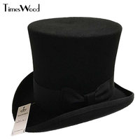 18cm Black Red Gray High Wool High Top Hat For Men And Men Chapeau Fedora Magician Felt Vintage Party Church Hats S M L XL