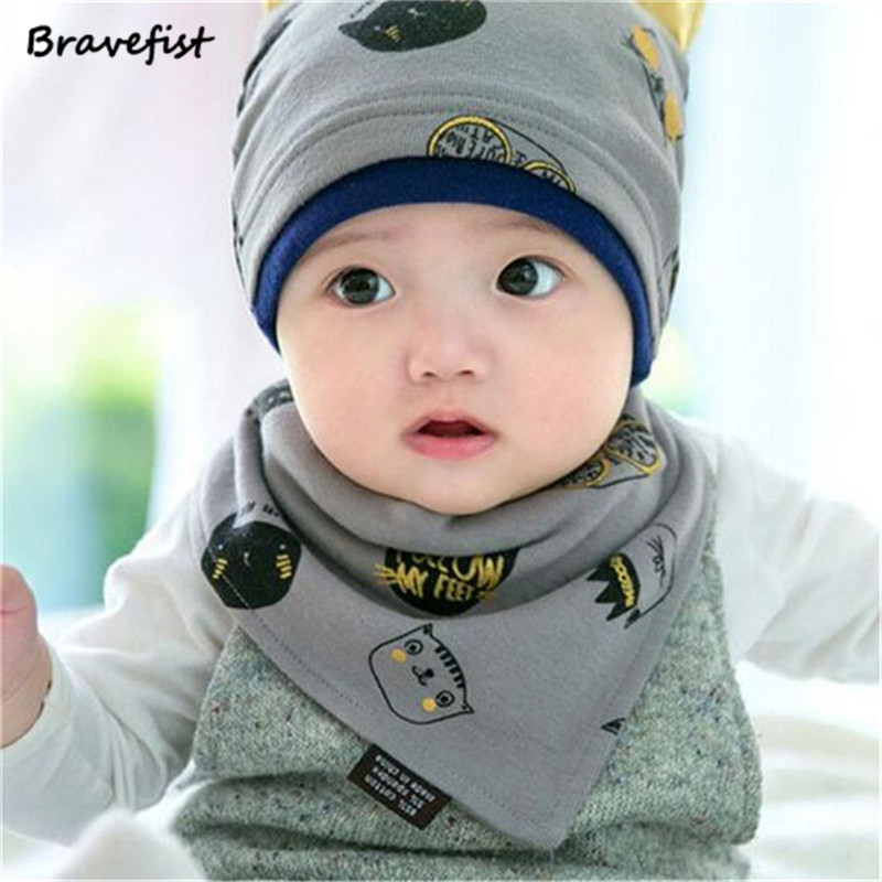 2Pcs Baby Beanie Cap Set With Bandana Bib Monsters Design Hat Head Scarf Boy Girl Kids Toddler Clothing Accessories Cotton Caps