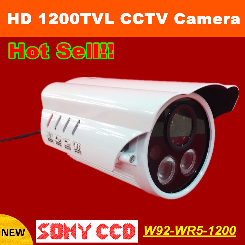 Hot HD 1200TVL 1/3 Outdoor CCTV Security Camera Sony CCD Waterproof IR Surveillance Camera 2 array LEDS CCTV Equipment free shipping new 1 3 sony ccd hd 1200tvl waterproof outdoor security camera 2 pcs array led ir 80 meter cctv camera