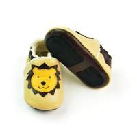 Warm Winter Baby Shoes Boy Genuine Leather Baby Moccasins Linon Pattern Yellow Toddler Girl Shoes