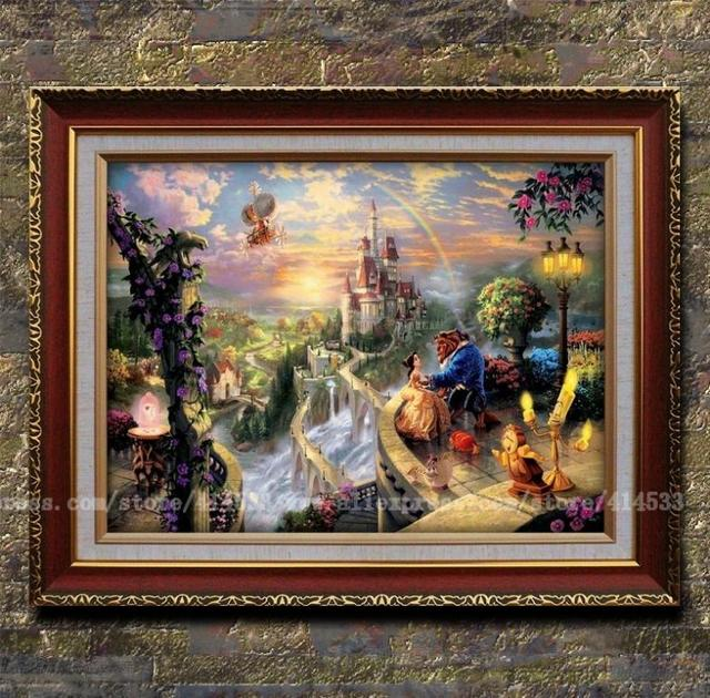Thomas kinkade prints beauty and the beast falling in love - Home interiors thomas kinkade prints ...