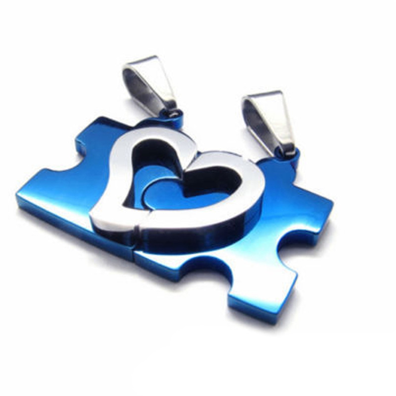 Men Women Couple Love Hearts Necklace Stainless Steel Puzzle Necklaces & Pendants For Lovers 4 Colors Jewelry Gift