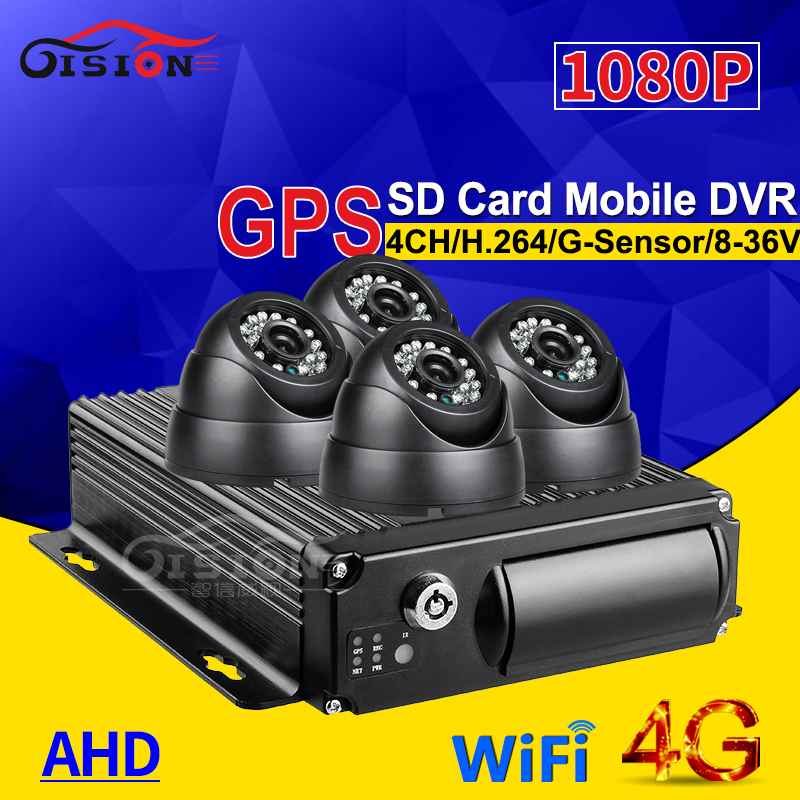 CCTV Real Time Surveillance 4G GPS Wifi Dual SD 4CH Car Mobile Dvr Kits 4Pcs Indoor 2.0Mp AHD Car Camera For Vehicle Bus/Taxi