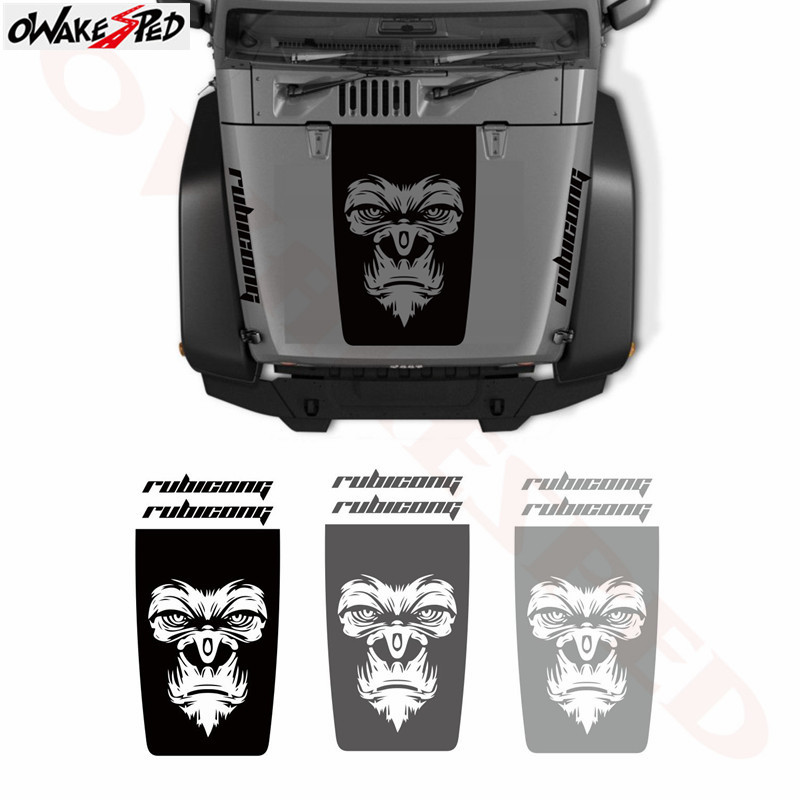 For Jeep Wrangler 3 Pc Gorilla Face Styling Stickers Car Cover Engine Decor Sticker Auto Hood Accessories Vinyl Decal in Car Stickers from Automobiles Motorcycles