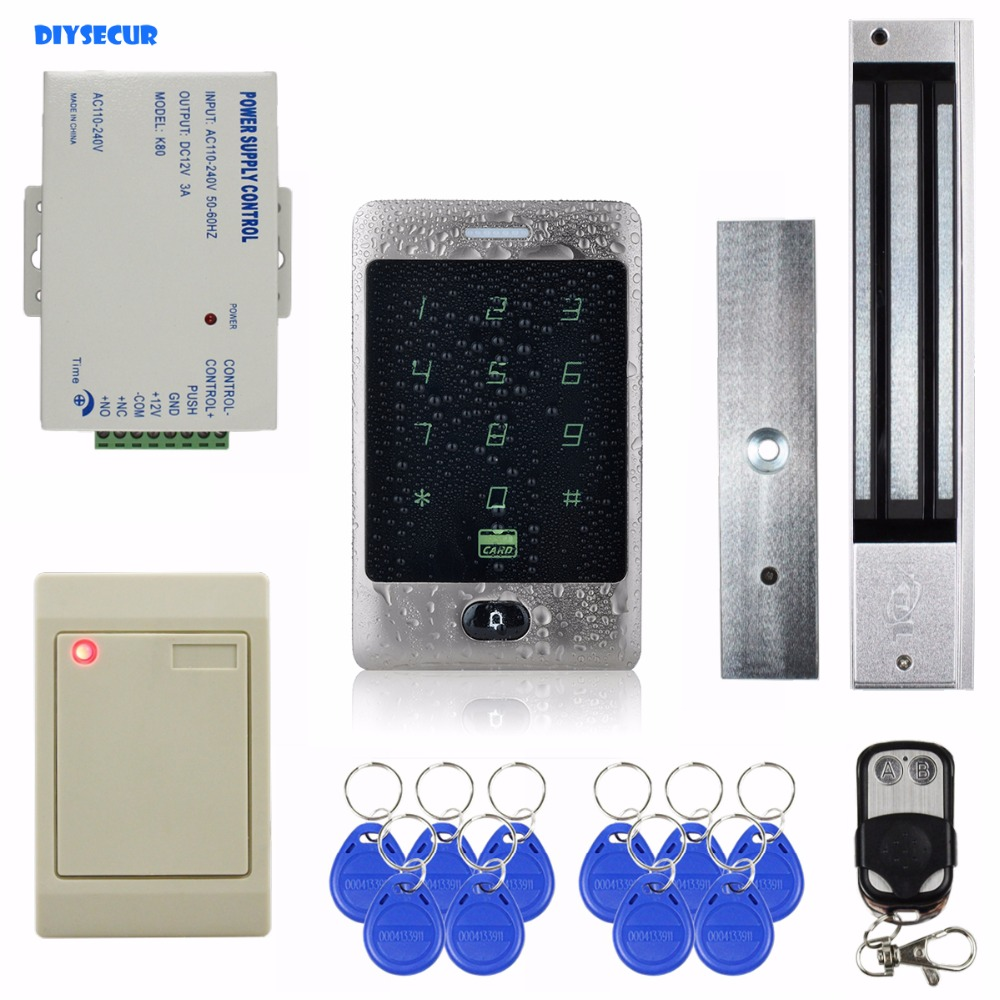 DIYSECUR Waterproof 125KHz RFID Reader Password Keypad + 280kg Magnetic Lock Door Access Control Security System Kit diysecur touch panel rfid reader password keypad door access control security system kit 180kg 350lb magnetic lock 8000 users