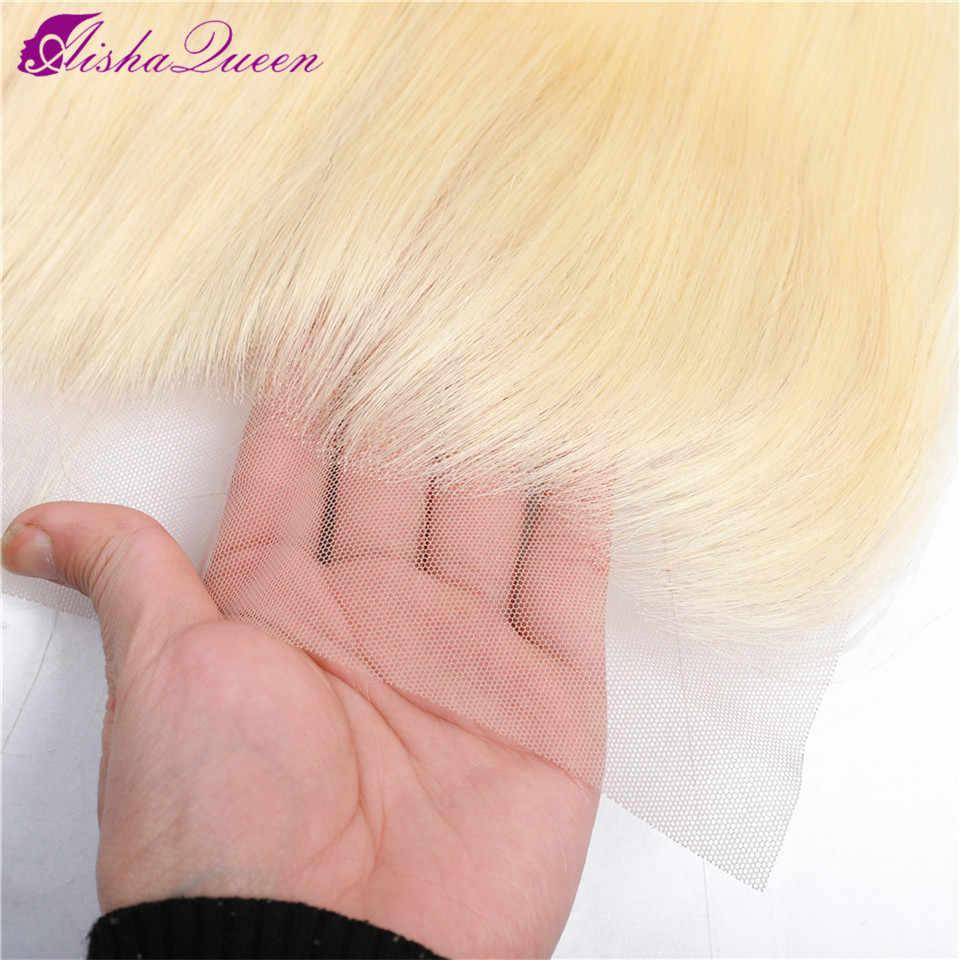 Aisha queen 613 блонд пучок s с фронтальной бразильской прямой волос с фронтальной Remy блонд человеческие волосы Кружева Закрытие с пучком