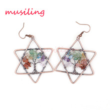 musiling 7 Stone Chakra Star Buddha Dangle Earrings Natural Crystal Quartz Charms Jewelry for Women