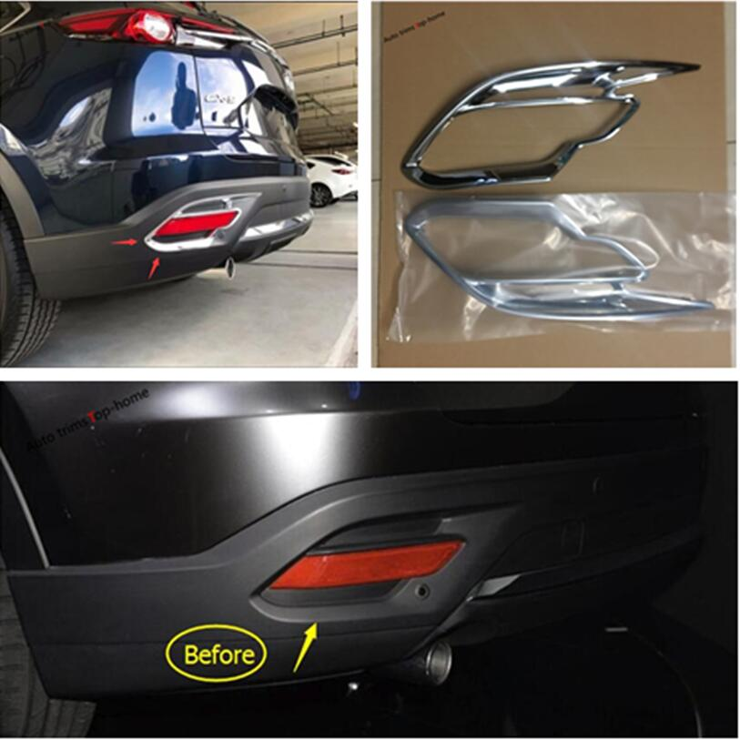 Yimaautotrims Rear Tailgate Fog Lights Lamp Frame Cover Trim ABS Fit For <font><b>Mazda</b></font> <font><b>CX</b></font>-<font><b>9</b></font> CX9 <font><b>2017</b></font> 2018 <font><b>2019</b></font> / Exterior Mouldings image