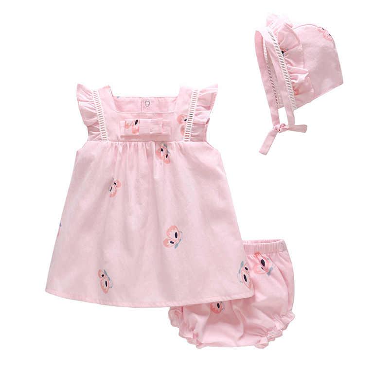3aa75d9c3ae80 Vlinder Girl dress Kids dress for Baby girl Princess style Cute Bow Tie  Dress Newborn Short Sleeves Infant Dresses 3pcs set