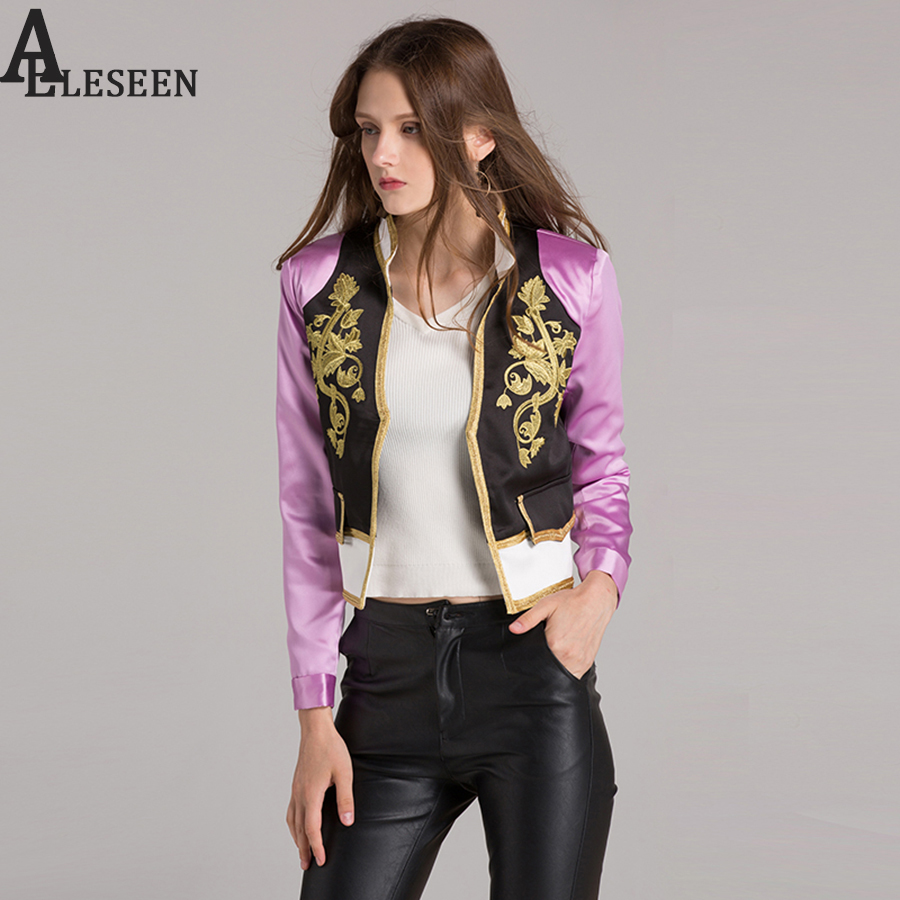 England New Short Jackets Women Long Sleeve Autumn Winter 2018 Fashion Gold Embriodery Patchwork Elegant Luxury