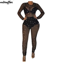 2018 Black Mesh Jumpsuits And Rompers For Women Sexy One Piece Club Wear Sheer Pearl Beading Perspective Back Zip Bodysuit Sexy