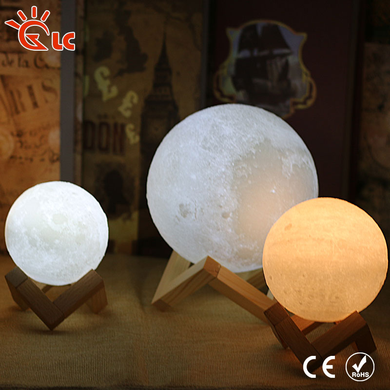 LED Moon Light USB Rechargeable 3D Print Magical LED Luna Night Light 8CM 9CM 10CM 15CM 18CM Moon Lamp Desk Touch