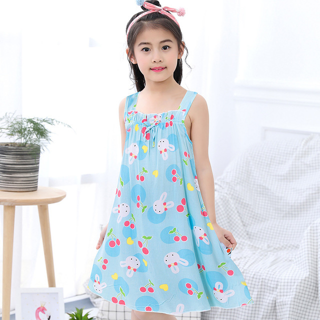 5d1347a741e55 Children Nightgown Princess Nightdress Teen Girls Sleep Dresses Kids  Cartoon Summer Sleeveless Pajama Kids Sleepwear 3Y-14Y