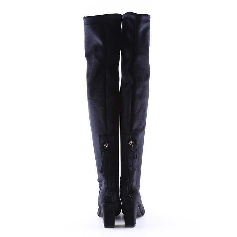 d8e625dd53c3 ... Square High Heels Slim Boots Female Over The Knee Boots Women  Motorcycle Boot Plus Size Women s