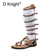 2c5b80f0c Mulheres Sandálias de Tiras dedo Aberto Na Altura Do Joelho Alto Verão  Gladiador Plana sandálias Romanas sandálias de Correia Pl..