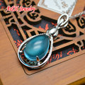 Fashion Women Jewelry Blue Cat Eyes Setting Silver Plated Water Drop Shape Pendant 18'' Chain Necklace