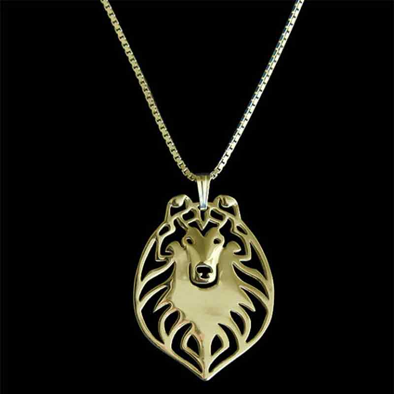 Rough Collie Dog Pendant Necklace Gold-color Charms For Pet Lovers Women Animal Jewelry & Cloth Accessories 2017