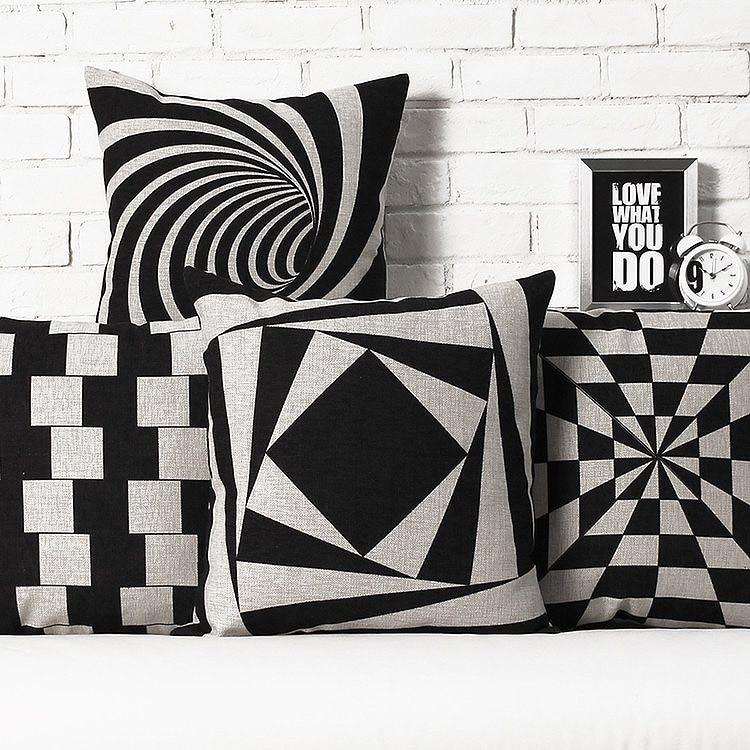 aliexpresscom buy nordic black and white throw pillowslinen black white cushionsgeometric sofa office cushionhome decorative chair cushions from - Black And White Decorative Pillows