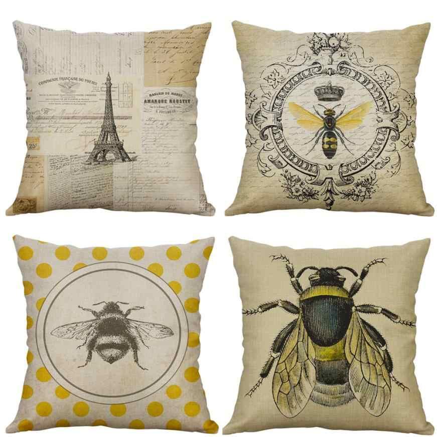 장식 베개 웨딩 빈티지 곤충 시리즈 코튼 린넨 동물 프린트 베개 커버 소파 던져 쿠션 커버 pillowcases