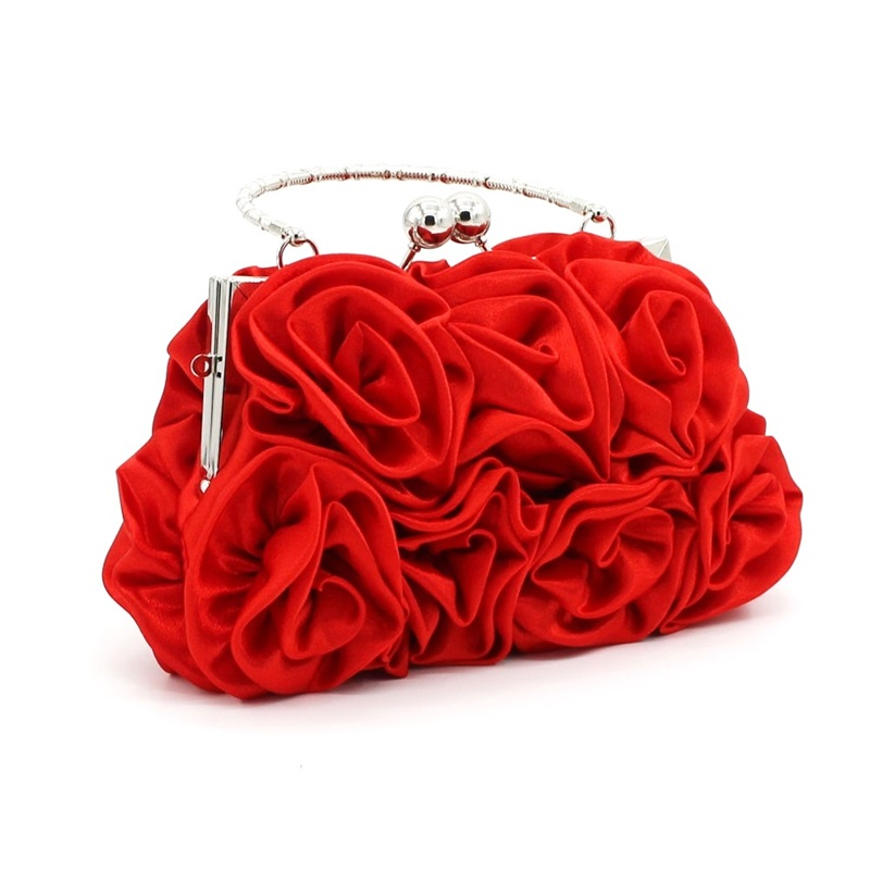 2017 Evening Bag Roses Flower Bride Purse Party Handbag Women Prom Wedding Day Clutch Bags Lady Phone Holder Wallet Tote Z987 In From