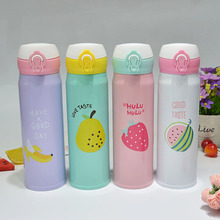 Hot sales BPA FREE Insulated colors Fruit design Vacuum Cup Stainless Steel Thermos Water Bottle Flask Travel TEA Mug