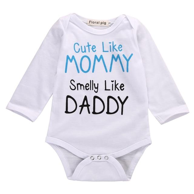 55eaba8c376f Autumn Cute Newborn Infant Baby Boy Girl Mom Dad Long Sleeve Romper ...