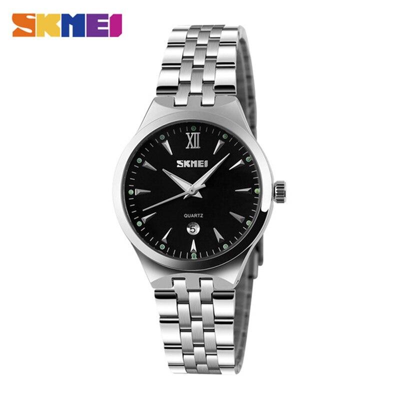 Relógio de Quartzo Relógios de Pulso à Prova Feminino Masculino Casais Marca Superior Luxo Dwaterproof Água Senhoras Vestido Relógio Skmei
