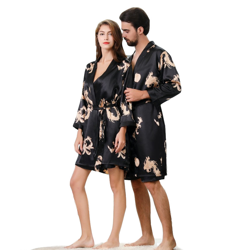 Luxury Dragon Designer Couple Silk Robes 5XL Sleepwear Women Soft Bathrobe Oversized Satin Nightgown Man Summer Home Clothing
