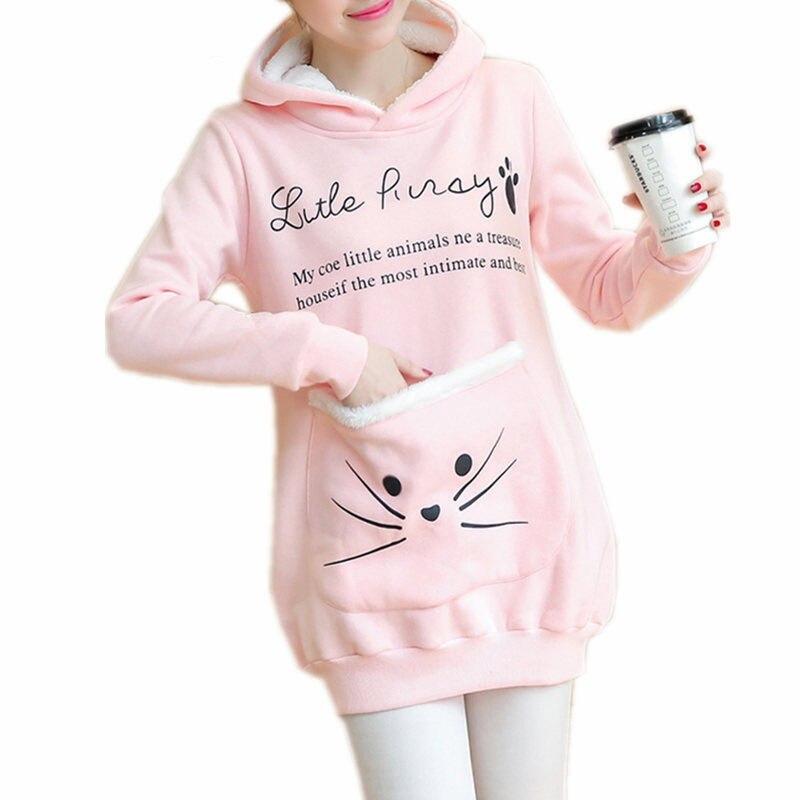 98c2bcd4a Cat Lovers Hoodie Women Cuddle Pouch Dog Pet Pink Hoodies Casual Kangaroo  Pullovers with Ears Sweatshirt Fleece Jacket E0247