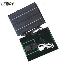 LEORY 5V 0.7A Sunpower Solar Panel Charger Dual Output Efficiency Solar Cells Power Bank Camping Charger For Phone 18650 Battery