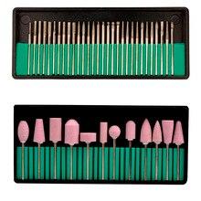 2 Sets 2.35mm 30 Styles Electric Nail Drill Bits + 12Styles Professional Ceramic Nail Art Polishing Grinding Head Tools Nail Art
