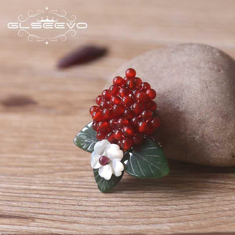 Xlentag Mewah Natural Akik Merah Bros Pin Alami Jade Batu Daun Bros untuk Wanita Aksesoris Dual Fine Perhiasan GO0169