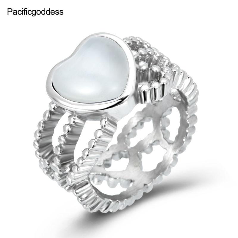 венчани прстен од срца сребрни прстен за жене и девојке прстен од нехрђајућег челика, бела црна боја и плава боја могу да се одаберу