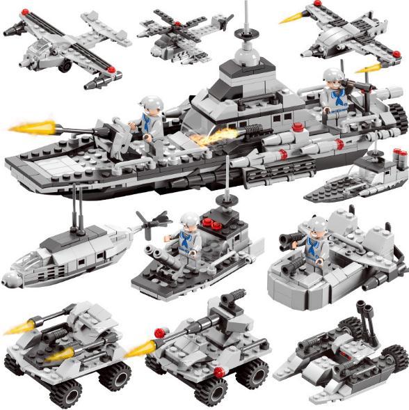 Rationeel 472 Pcs 6 In 1 Militaire Slagschip Model Assembleren Bouwstenen Helikopter Combat Vliegtuigen Speelgoed Stad Mensen Wapen Jongen