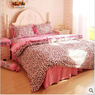 100 Cotton Pink Leopard Queen Size Bed Set Bedding Set