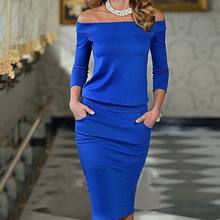 Women Club Bodycon Dress 2018 New Style Long Sleeve Slash Neck Sexy Night Club Wear Black Blue Celebrity Party Dresses XL(China)